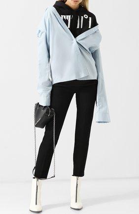Укороченные хлопковые брюки со стрелками Act n1 черные   Фото №1