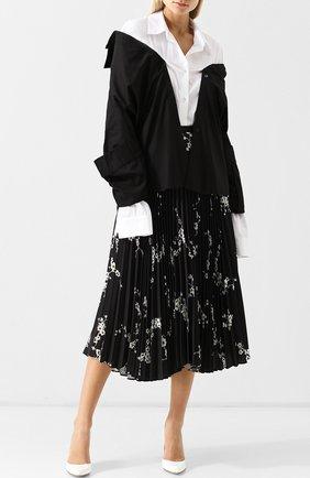 Женская хлопковая блуза асимметричного кроя с удлиненным рукавом Act n1, цвет черно-белый, арт. PFT1801 в ЦУМ   Фото №1