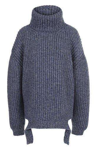 Шерстяной пуловер свободного кроя с воротником-стойкой
