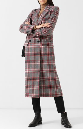 Двубортное шерстяное пальто в клетку Michael Kors Collection разноцветного цвета | Фото №1