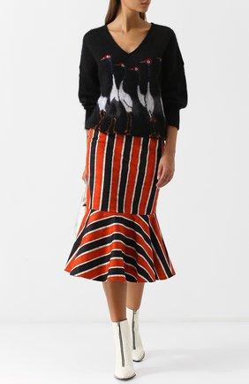 Пуловер с V-образным вырезом и декоративной вышивкой Stella Jean черный | Фото №1
