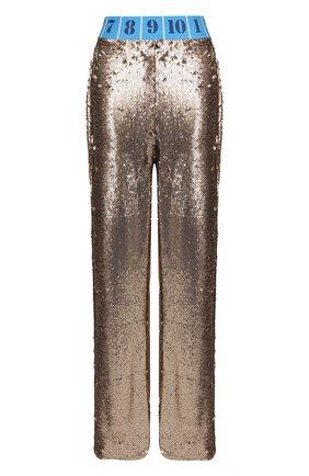 Брюки с контрастным поясом и пайетками Stella Jean золотые | Фото №1