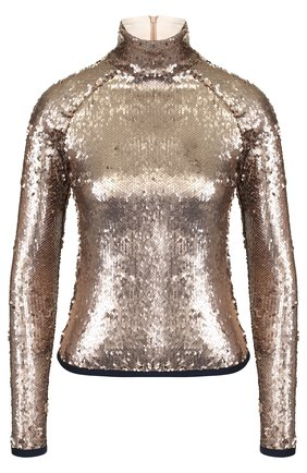 Водолазка с контрастной отделкой и пайетками Stella Jean золотая | Фото №1