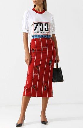 Хлопковая юбка-миди с принтом Stella Jean красная | Фото №1