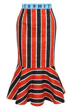 Хлопковая юбка-миди с оборкой и контрастным поясом Stella Jean разноцветная | Фото №1