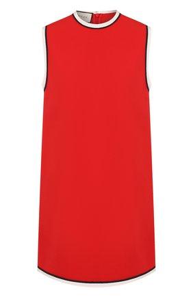 Женское мини-платье с круглым вырезом и контрастной отделкой GUCCI красного цвета, арт. 524232/ZKR01 | Фото 1 (Длина Ж (юбки, платья, шорты): Мини; Рукава: Без рукавов; Случай: Повседневный; Материал внешний: Вискоза; Стили: Гламурный)