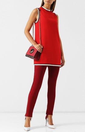 Женское мини-платье с круглым вырезом и контрастной отделкой GUCCI красного цвета, арт. 524232/ZKR01 | Фото 2 (Длина Ж (юбки, платья, шорты): Мини; Рукава: Без рукавов; Случай: Повседневный; Материал внешний: Вискоза; Стили: Гламурный)