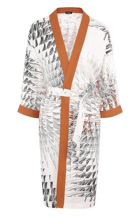 Шелковое кимоно с поясом и принтом | Фото №1