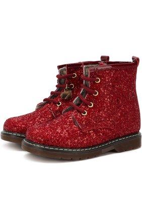 Утепленные ботинки на шнуровке с глиттером | Фото №1