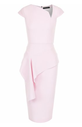 Приталенное шерстяное платье-миди с оборкой | Фото №1