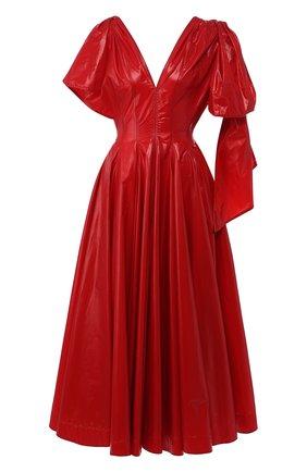 Приталенное платье-миди с V-образным вырезом | Фото №1