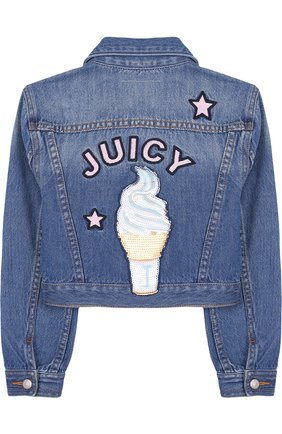 Укороченная джинсовая куртка с нашивками Juicy Couture голубого цвета | Фото №1