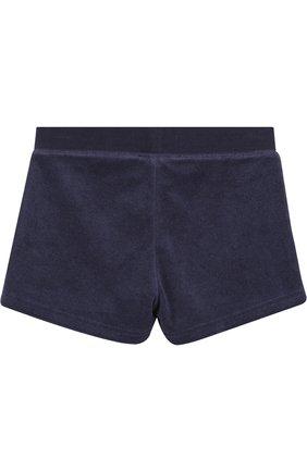 Детские хлопковые шорты с поясом на кулиске Juicy Couture синего цвета | Фото №1