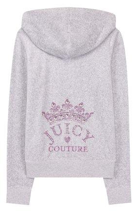 Хлопковый кардиган на молнии с капюшоном Juicy Couture серого цвета | Фото №1
