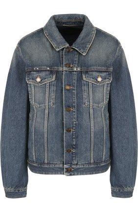 Женская джинсовая куртка с потертостями SAINT LAURENT синего цвета, арт. 530526/YC868 | Фото 1