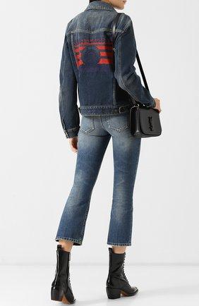 Женская джинсовая куртка с потертостями SAINT LAURENT синего цвета, арт. 530526/YC868 | Фото 2