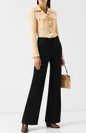 Приталенная шелковая блуза с накладными карманами