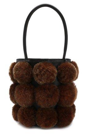 Сумка Roxy с отделкой из меха кролика Alexander Wang коричневая цвета | Фото №1