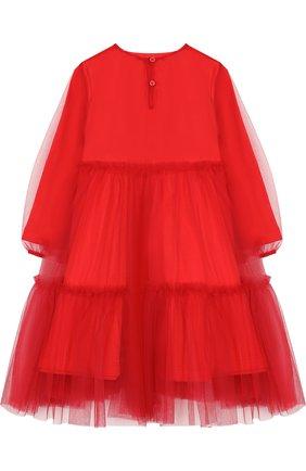 Детское хлопковое платье свободного кроя с прозрачной отделкой Il Gufo красного цвета | Фото №1