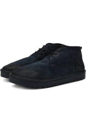 Кожаные ботинки на шнуровке Marsell темно-синие | Фото №1
