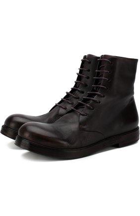 Высокие кожаные ботинки на шнуровке  Marsell бордовые | Фото №1
