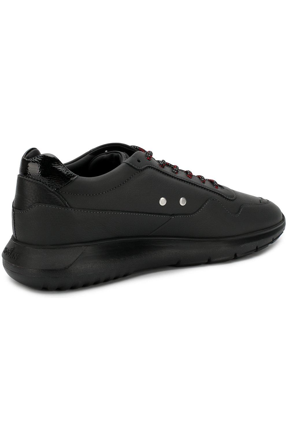 Кожаные кроссовки на шнуровке | Фото №4