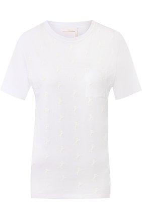 Хлопковая футболка с круглым вырезом и накладным карманом Chloé белая   Фото №1