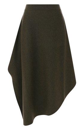 Шерстяная юбка-миди асимметричного кроя J.W. Anderson хаки   Фото №1