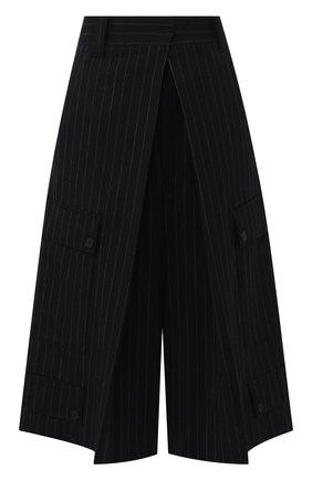 Шерстяные кюлоты свободного кроя с карманами J.W. Anderson черные   Фото №1