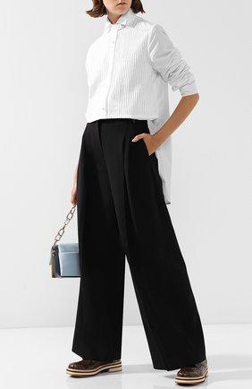Шерстяные брюки свободного кроя со стрелками J.W. Anderson черные   Фото №1