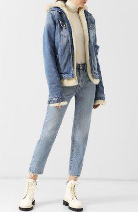 Джинсовая куртка на молнии с капюшоном AS65 голубая | Фото №1