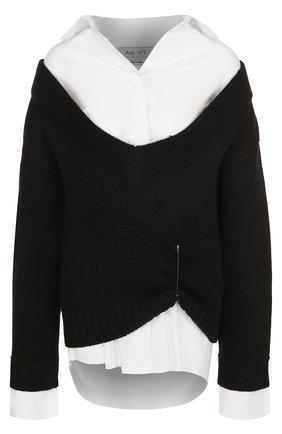 Шерстяной пуловер с рубашкой Act n1 черно-белый   Фото №1