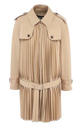 Хлопковое пальто в складку с поясом Junya Watanabe бежевого цвета | Фото №1
