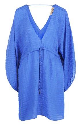 Туника с V-образным вырезом и эластичным поясом Lazul синяя | Фото №1