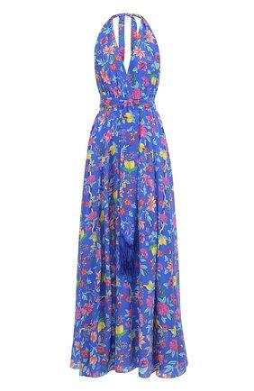 Шелковое платье-макси с поясом и принтом Lazul разноцветное | Фото №1