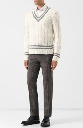 Мужской кашемировый пуловер фактурной вязки RALPH LAUREN белого цвета, арт. 790709641 | Фото 2