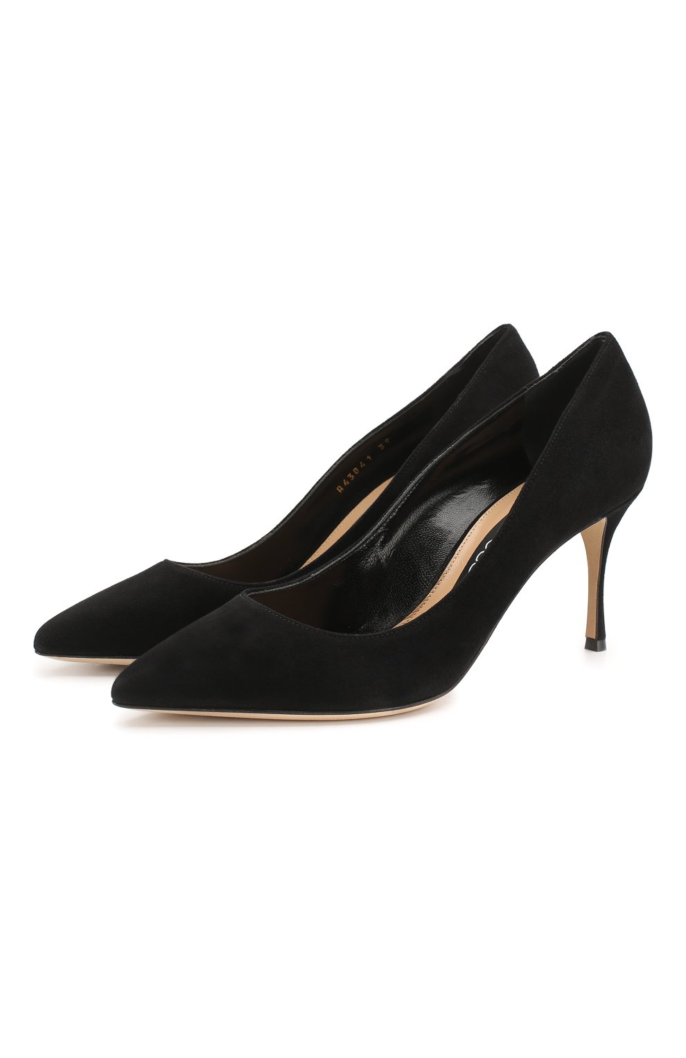 Женские замшевые туфли SERGIO ROSSI черного цвета, арт. A43841-MCAZ01 | Фото 1
