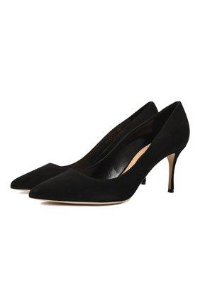 Замшевые туфли на шпильке Sergio Rossi черные | Фото №1
