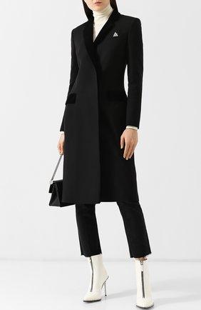 Приталенное шерстяное пальто с декоративной отделкой Christopher Kane черного цвета | Фото №1