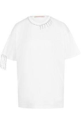 Хлопковая футболка с круглым вырезом и декоративной отделкой Christopher Kane белая | Фото №1