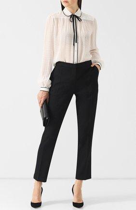 Женская шелковая блуза с контрастной отделкой и бантом Polo Ralph Lauren, цвет кремовый, арт. 211704846 в ЦУМ | Фото №1