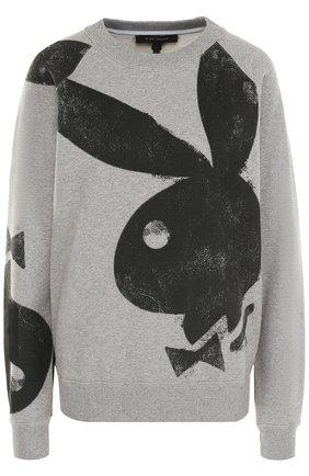 Хлопковый пуловер с круглым вырезом и принтом Marc Jacobs серый | Фото №1