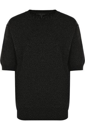 Пуловер с укороченным рукавом и металлизированной нитью   Фото №1