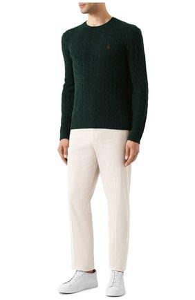 Мужской джемпер из смеси шерсти и кашемира POLO RALPH LAUREN зеленого цвета, арт. 710719546 | Фото 2