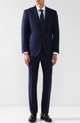 Мужской шерстяной костюм с пиджаком на двух пуговицах CORNELIANI темно-синего цвета, арт. 827268-8817087/92 Q1   Фото 1