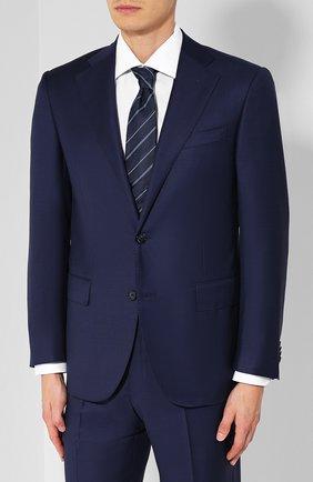Мужской шерстяной костюм с пиджаком на двух пуговицах CORNELIANI темно-синего цвета, арт. 827268-8817087/92 Q1   Фото 2