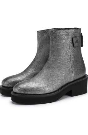 Кожаные ботинки из металлизированной кожи | Фото №1