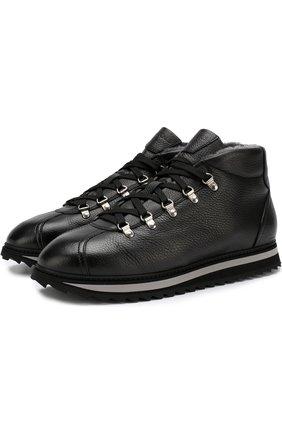 Высокие кожаные ботинки с внутренней меховой отделкой Doucal's черные | Фото №1