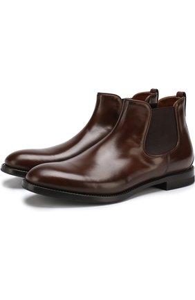 Классические кожаные челси W.Gibbs коричневые   Фото №1