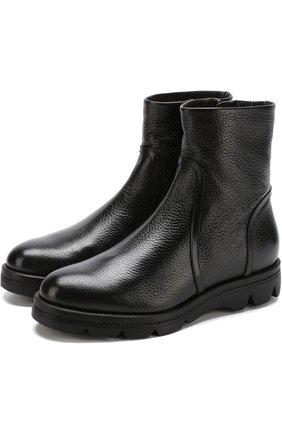 Кожаные ботинки с внутренней отделкой из овчины | Фото №1